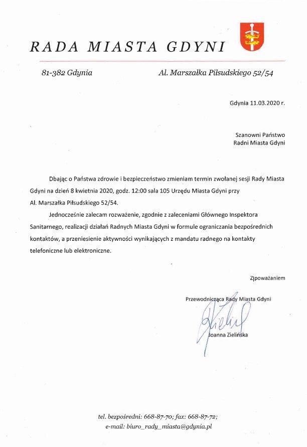 pismo do radnych w sprawie zmiany terminu sesji
