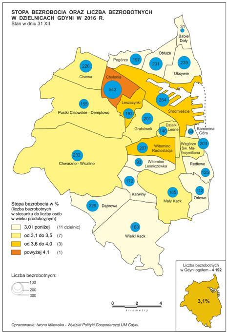 mapa bezrobocie w gzielnicach Gdyni 2016
